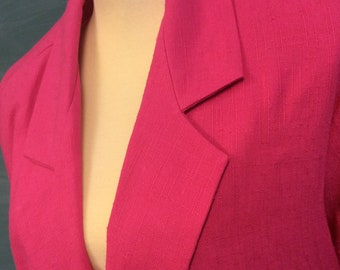 1980's Joanna Hot Pink Big Shouldered Jacket