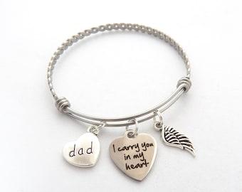 Memorial Gift, SYMPATHY BRACELET, Loss of father gift, Dad Sympathy Bracelet, In memory of mom, I carry you in my heart memorial bracelet