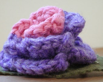 Crocheted Rose Barrette - Purple and Pink (SWG-HB-MPTS01)