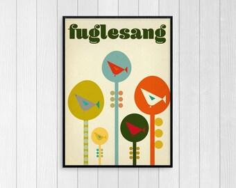 Fuglesang - Contemporary Modern Scandinavian Style Art Poster