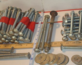 100 pcs  CARRIAGE BOLT LOT / Bolts - Nuts - Washers / 6+ Inch / Discounted 65 Percent Off