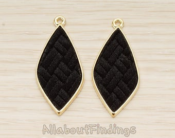 PDT1560-02-G-BL // Glossy Gold Plated Black Colored Synthetic VELVET Covered Organic Diamond Pendant, 1 Pc