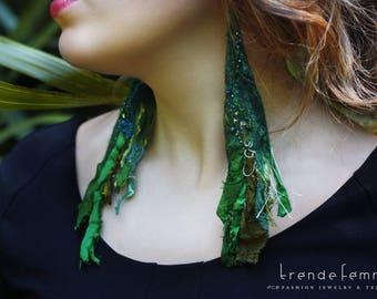 Felted Recycled Sari Silk Earrings, Emerald | Bohemian Wearable Art