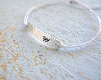 Butterfly Bracelet, Butterfly Jewelry, Butterfly Charm, Silver Butterfly Bracelet, String Bracelet, tiny butterfly bracelet