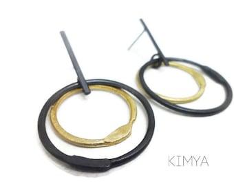 Oxidized Silver Brass Earrings - Oxidized Silver Earrings - Contemporary Post Earring - Silver Brass Hoop Earring - Postmodern Brass Jewelry