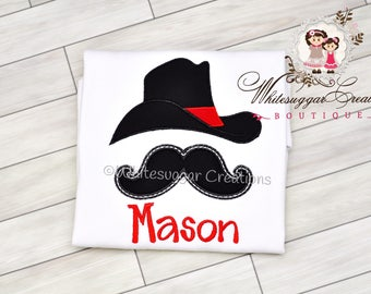 Cowboy Hat and Mustache T-shirt - Rodeo Themed Shirt - Baby Boy Outfit  - Embroidered Shirt