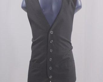 Men's Suit Vest  / Vintage Black Pinstripe Waistcoat / Size 39 medium  #2501