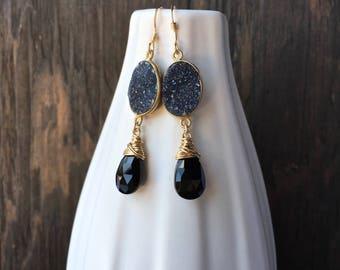 Black drusy earrings with black garnet on gold, black druzy earrings