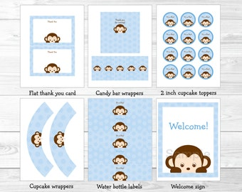 Cute Monkey Baby Shower Party Package / Baby Shower Decorations / Monkey Decorations / Baby Blue / Baby Boy Shower / INSTANT DOWNLOAD A354