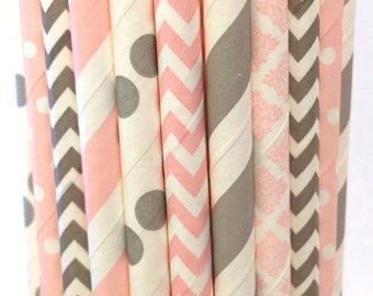 2.85 US Shipping -Pink and Gray Paper Straws - Gray and Pink Straws - Cake Pop Sticks - Drinking Straws