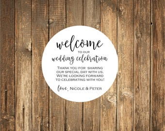 Welcome Bag Stickers, Favor Stickers, Wedding Favor Stickers,  Favor stickers
