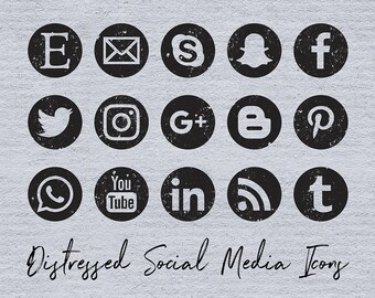 Distressed Social Media Icons, Grunge Social Media Icons Set, 15 PNG Black Icons, Round Distressed Icons, Coupon Code: BUY7FOR10