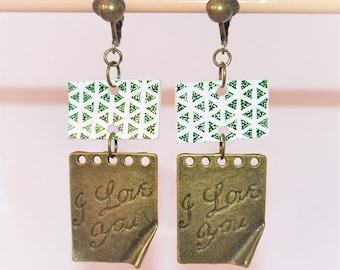 Bronze clip earrings