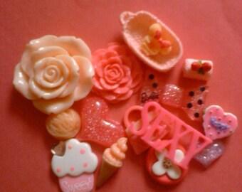 Kawaii decoden deco diy cabochon pink girly mix  15 pcs # 43----USA seller