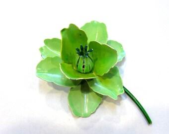 Enamel Flower Pin VINTAGE Green Enamel Pin Brooch FLOWER 3-D Enamel Green Flower Pin Brooch Ready to Wear Vintage Jewelry Supply (A229)
