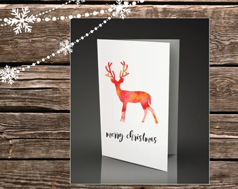 Printable Christmas Cards - Watercolour Design