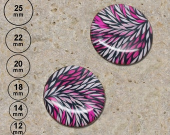2 cabochons 20 mm resin print sheets white fuchsia is available in 25, 22, 18, 14, 12 mm