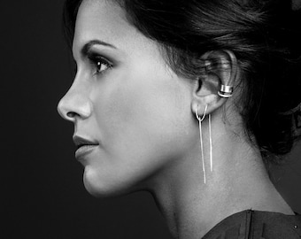 silver versatile threader chain earrings | F E M M E collection from Haley Lebeuf