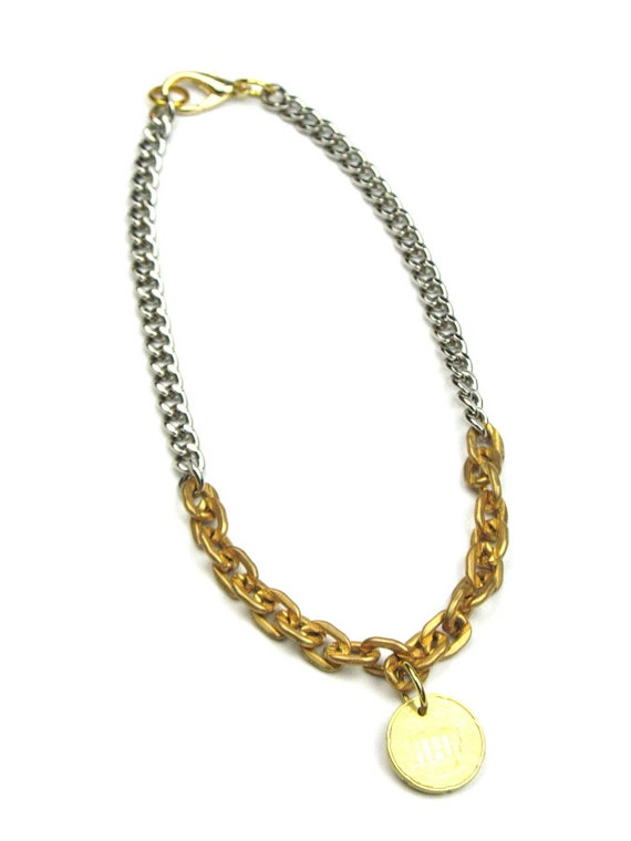 Coin Jewelry in Solid Brass Chunky Chain, Silver Curb Chain and Optional Upcycled  Coin Charm