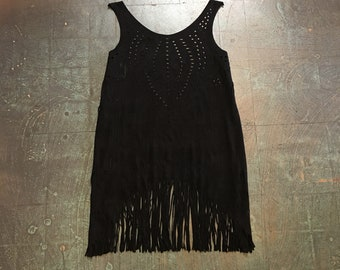 Preloved fringe cutout perforated suede mini dress // LBD tunic jumper coverup festival fashion // size small medium