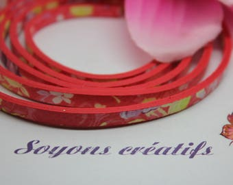 1 m strap leather flowers red 5mm - Creation - P4605-