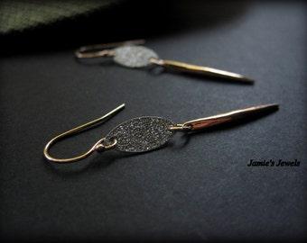 Bar Earrings - Rose Gold Bar  - Spike - Everyday Rose Gold  - Minimal - Simple - Modern - Lightweight - Modern Spike - Drop -Sterling Silver
