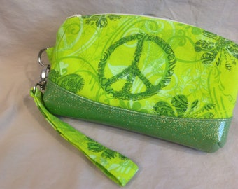 Small clutch, pouch retro bag, lime green,glitter vinyl, peace sign, pocket for phone, fully lined, makeup bag,project bag,vintage inspired