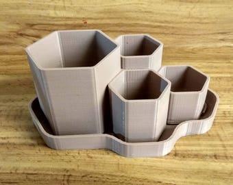 Hex planter, 15cm long, 3D printed, Hexagonal pot, decoration, plants