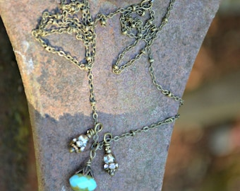 Sky Blue Necklace with Vintage Rhinestone and Czech Glass Beads