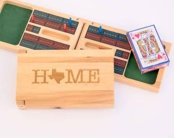 Personalized Cribbage - Engraved Cribbage - Family Game Night - Folding Cribbage Set - Wooden Cribbage - Home State Gift - Custom Cribbage