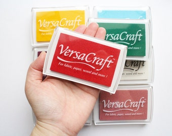 versacraft ink pad | tsukineko rubber stamp ink pad | non toxic acid free water based pigment ink for fabric paper | large | choose 2 colors