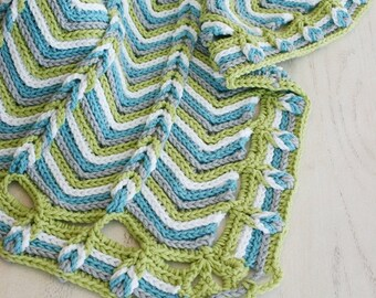 Crochet Pattern, Rolling Ridge Baby Blanket, Afghan, Any Size