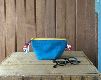 Recycled fabric zip pouch zip purse supplies pouch pencil case make up bag floral print yellow zipper bag case