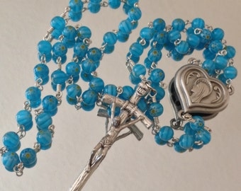 Blue Flower Lamp work and Silver Wire Wrapped Rosary