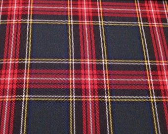 Handsome Dark Hunter and Red Woven Plaid Rayon/Polyester Fabric--By the Yard