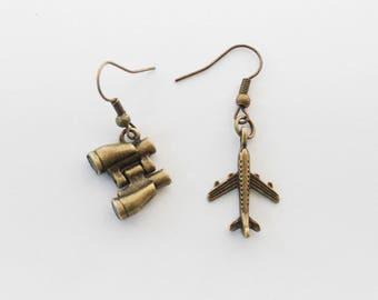 Travel Earrings, Wander Earrings, Wanderer Earrings, Globe Earrings, World Earrings, Plane Earrings, Binoculars Earrings, Travel Jewelry
