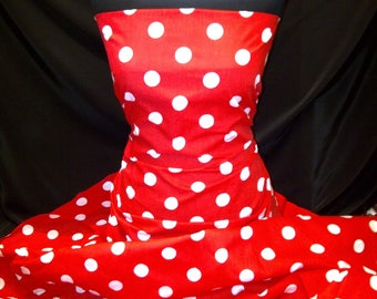 Cotton Print Red Large White Polka Dot Spots, dress-making Crafts Fabric Material