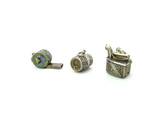 Portuguese Etruscan Filigree Enamel Sterling Silver Charms