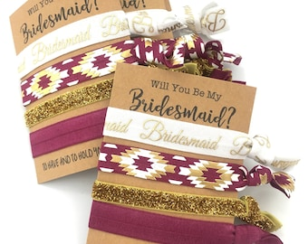 Burgundy + Gold | Bridesmaid Hair Ties | Will You Be My Bridesmaid | Bridesmaid Proposal, Bridesmaid Gift, Thank You | Help Me Tie The Knot