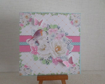 card with bird and flowers in pastel shades