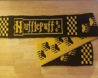 Double Knit Badger House Scarf from Teenage Wizard School with House Name