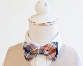 Bow Tie, Bow Ties, Boys Bow Ties, Baby Bow Ties, Bowtie, Bowties, Ring Bearer, Bowties For Boys, Ties - Navy and Orange Organic Madras Plaid