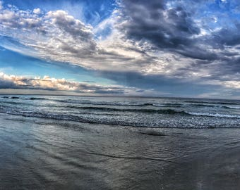 Wells Beach, Maine - Reflections at Sunset - Panoramic Photography