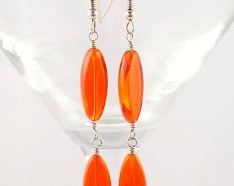 Bright Orange Glass Dangle Earrings