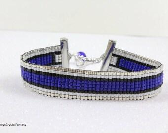 Back the Blue Bracelet, Thin Blue Line Bracelet,  Blue Lives Matter Bracelet, Woven Loom Beaded Bracelet, Custom Order