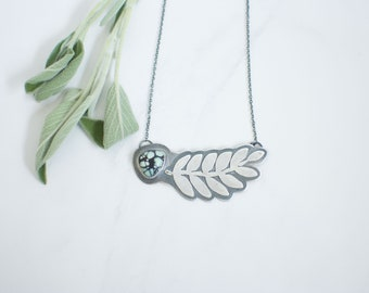 New Lander Fern Necklace // Sterling Silver Hand-Sawn Fern Detail // 18 inch Necklace