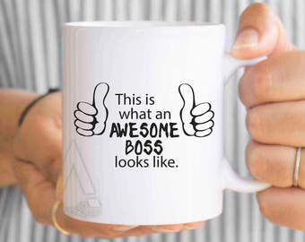 "Boss gifts, christmas gifts, ""this is what an awesome boss looks like"" funny coffee mugs, boss appreciation, male boss gift idea MU489"