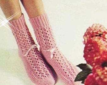 Vintage Lacy Sock Slippers Shoes Knitting Pattern - PDF Instant Download - Vintage Ankle Sock Pattern - Digital Pattern - Knitted Bed Socks