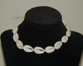 "Natural Hemp Choker Surfer Necklace --Cowrie Shells-- Choose Your Size 14"" to 32"""