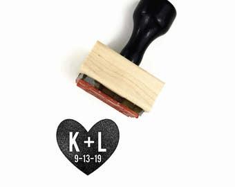 Custom Wedding Monogram & Date Heart Stamp   Custom Personalized Initials Minimalist   Wood Mounted Rubber Stamp   Minimal Simple Wedding